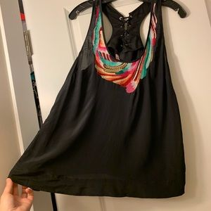Black top with rainbow embroidery and pockets